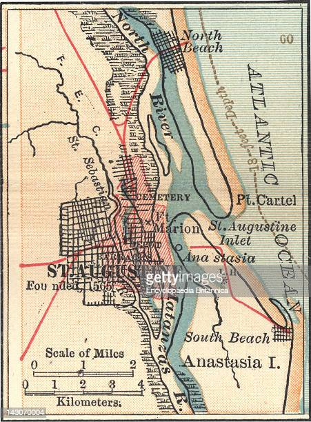 St Augustine Florida Map.Map Of St Augustine Florida Pictures Getty Images