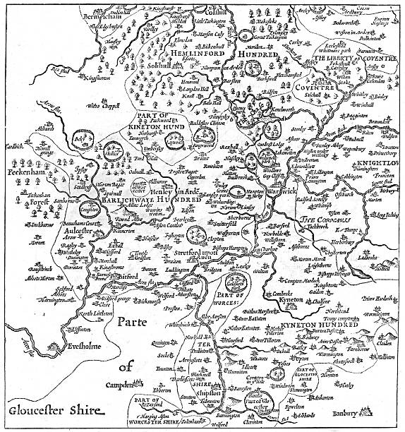 A Map Of Stratford Upon Avon And Its Surrounding Areas 1610 1885