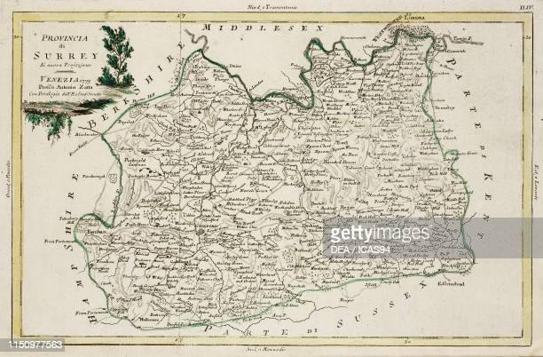 Map of Surrey United Kingdom engraving from Atlante Novissimo Volume I published by Antonio Zatta Venice 17751799