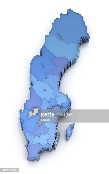 Map of Sweden with counties