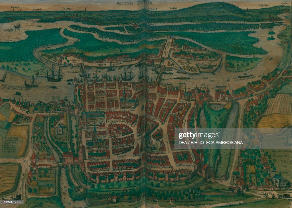 Map of Szczecin Poland colored engraving Pictures Getty Images
