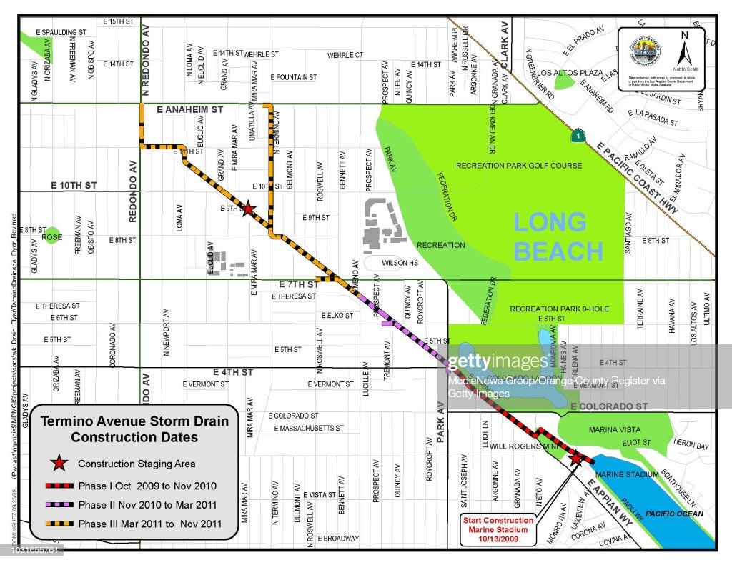 BEACH, CA -- Map of Termino Avenue Storm Drain project on ...