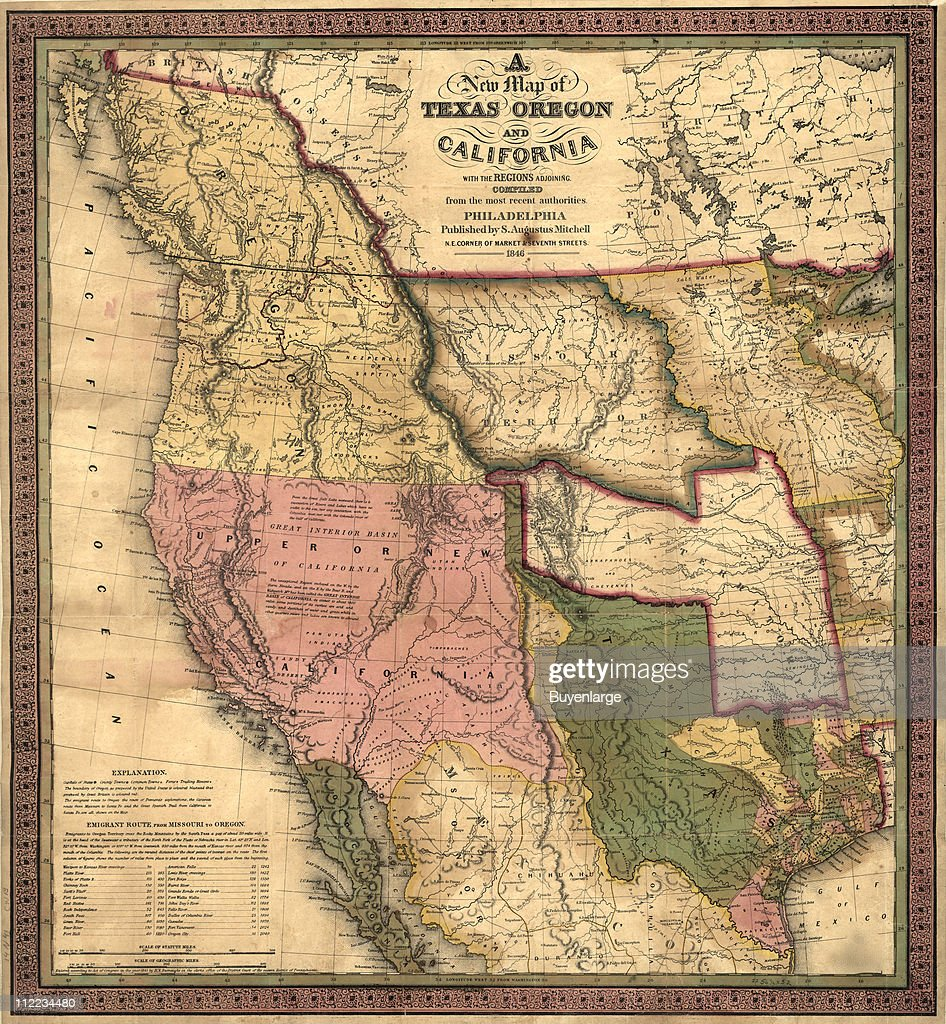 Map of Texas, Oregon, & California, 1846. Illustration by S ... S In Oregon Map on