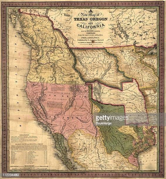Map of Texas Oregon California 1846 Illustration by S Augustus Mitchell