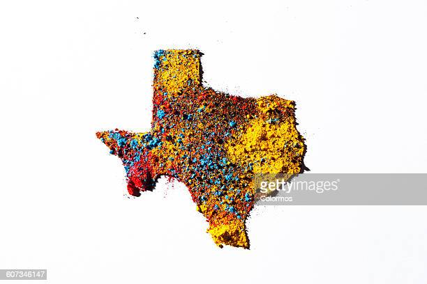 Map of Texas, USA with colored powder