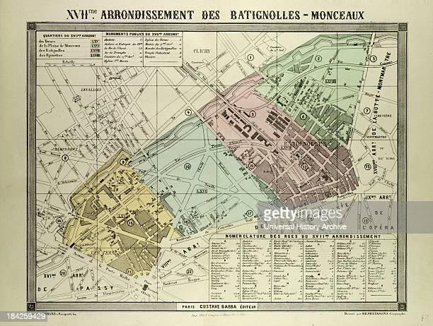 Map Of The 17Th Arrondissement Des BatignollesMonceaux Paris France
