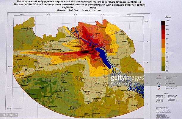 A map of the 30km Chernobyl zone showing terrestrial density of plutonium 239 contamination in the year 2000 June 1 2000 in Chernobyl exclusion zone...