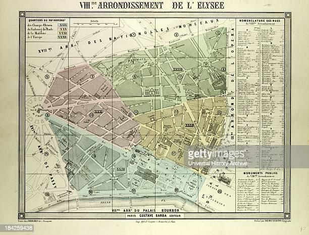 Map Of The 8Th Arrondissement De L'Elysee Paris France