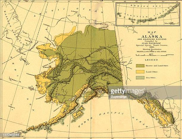 Map of the Alaska that highlight the overlapping habitats of land and sea otters and beaver 1882 Illustration by Ivan Petroof