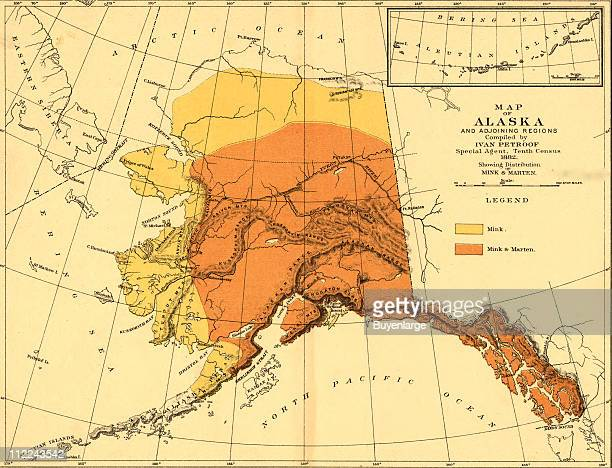 Map of the Alaska that highlight the overlapping habitats of mink and marten 1882 Illustration by Ivan Petroof