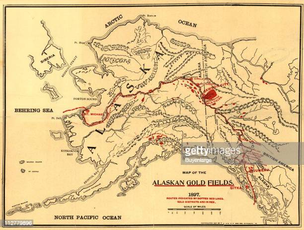 Map of the Alaskan gold fields in both the Alaska and British Columbia along with various transport routes 1897 Illustration by TS Lee