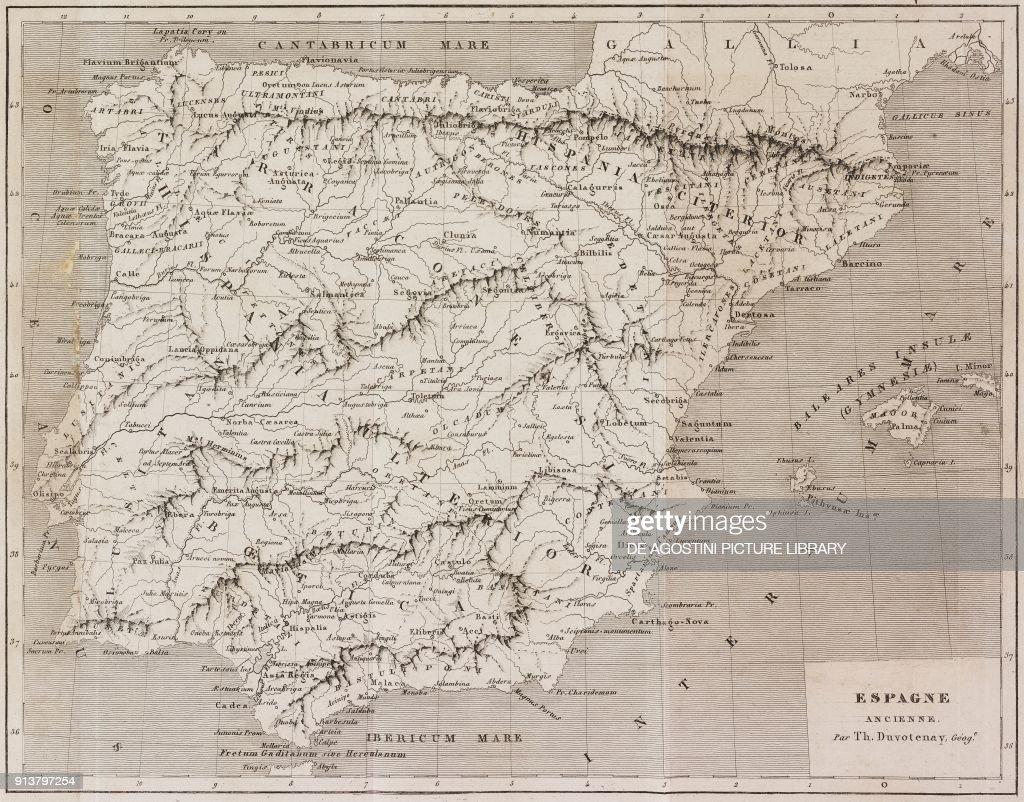 Map Of The Ancient Spain Engraving By Lemaitre From Espagne By