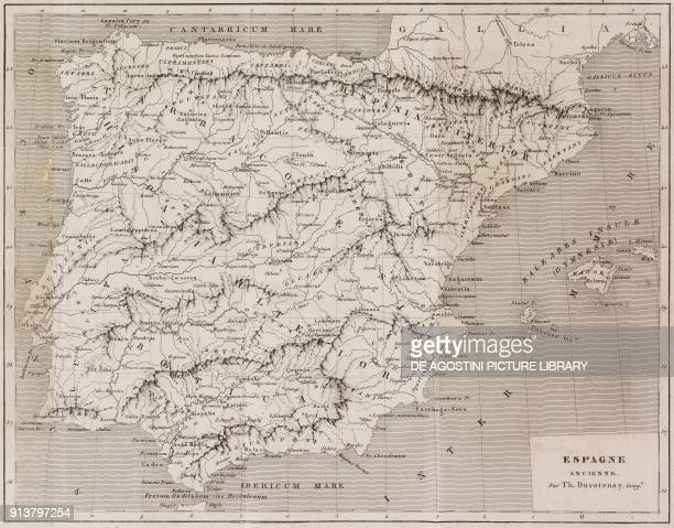 Map of the ancient Spain engraving by Lemaitre from Espagne by Joseph Lavallee and Adolphe Gueroult L'Univers pittoresque published by Firmin Didot...