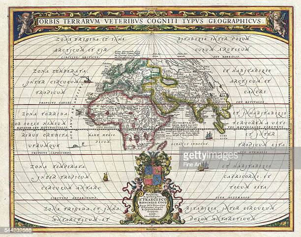 Map of the Ancient World 1650 Engraving with place names in East Asia Africa and the Mediterranean taken from the writings of Ptolemy Private...