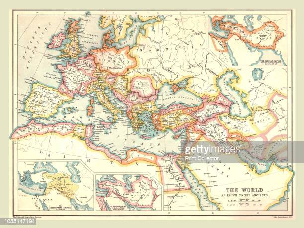 Map of the Ancient World Showing Europe North Africa and the Middle East during the Roman period From The Century Atlas of the World [John Walker Co...