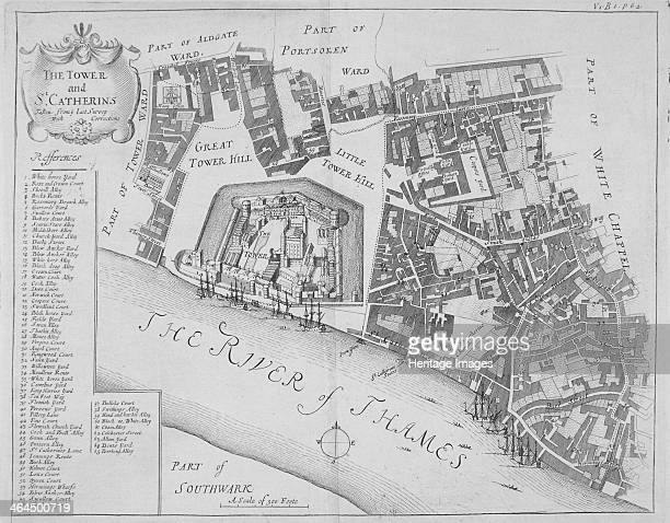 Map of the area around the Tower of London and St Katharine by the Tower Stepney London 1720