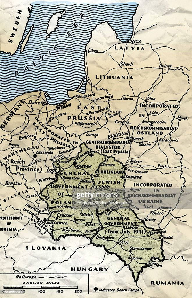 Concentration Camps In Europe Map.Map Of The Area Of Central Europe Where The Nazi Concentration And