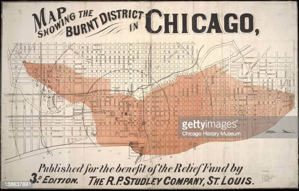 Map of the area of Chicago burned during the Great Chicago Fire Chicago Illinois early 1870s
