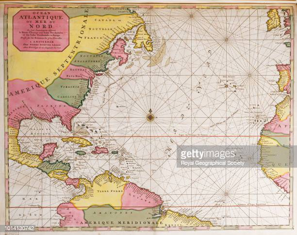 Map of the Atlantic ocean showing the east coast of North America the Caribbean and Central America Ocean Atlantique ou mer du Nord ou sont...