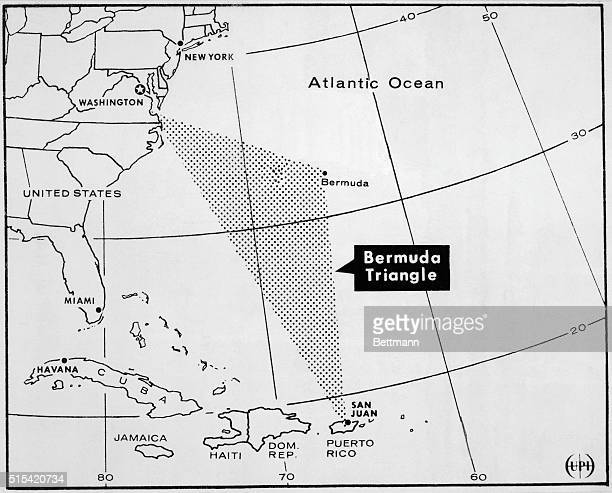Map of the Atlantic Ocean showing the southeast United States Cuba Haiti Jamaica the Dominican Republic and Puerto Rico with the Bermuda Triangle...