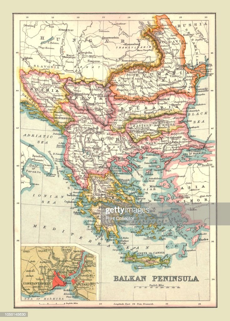 Map of the Balkan Peninsula, 1902. Showing Bosnia, Servia , Romania ...