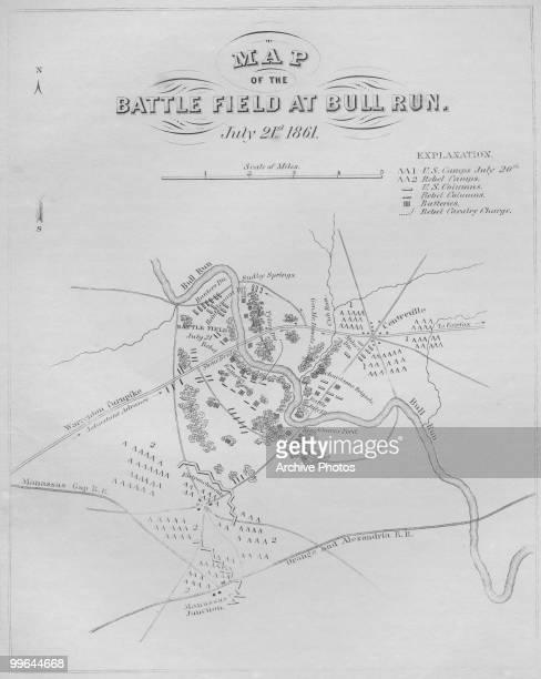 A map of the Battle field at Bull Run in Manassas Virginia 21 July 1861