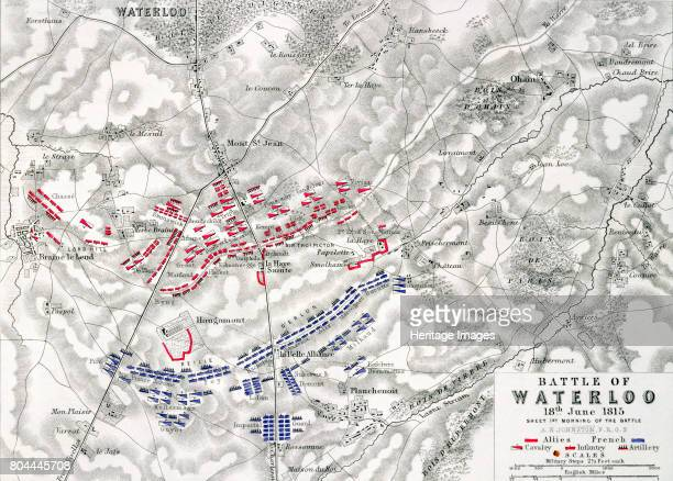 Map of the Battle of Waterloo 18th June 1815 Battle plan showing the positions of the British and French armies at the outset of the battle Artist...