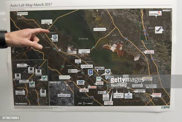 A map of the Bay area showing locations of self driving automobile companies and startups is displayed at the DeepMap Inc office in Palo Alto...