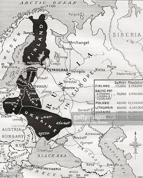 Map Of The BrestLitovsk Peace The Area Shown In Black In The Map Comprises The Territories Which Russia Agreed To Surrender As A Result Of The...