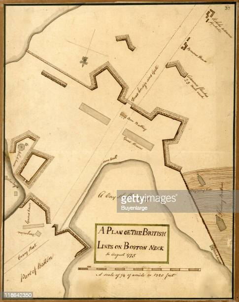 Map of the British attack lines Boston Neck during the battle of Bunker Hill Boston Massachusetts 1775