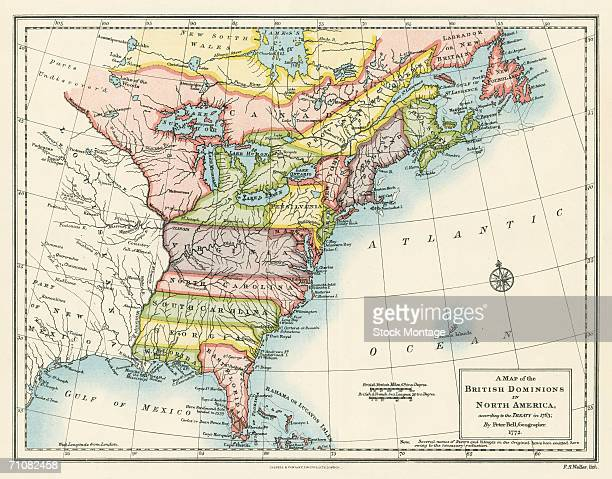 Map of the British dominions in North America according to the Treaty of Paris in 1763 at the conclusion of the Seven Years War 1772 Map by...