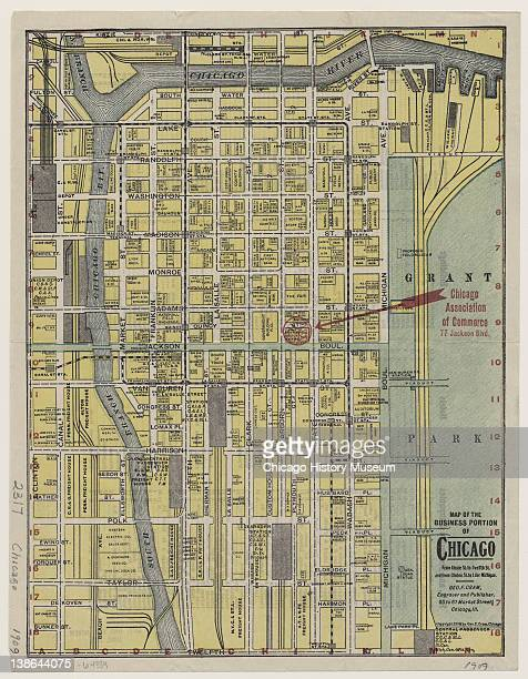 Map of the business portion of Chicago from Kinzie Street to Twelfth Street and from Clinton Street to Lake Michigan Chicago Illinois 1909 Shows...