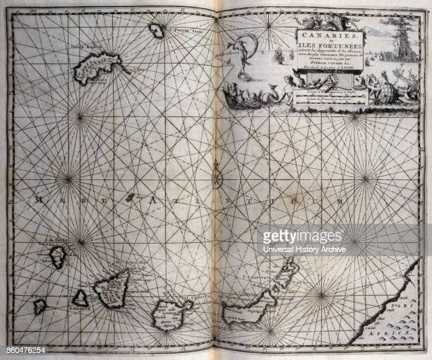 Map of the Canary Islands From voyages made to Persia and India 1727 by Johan Albrecht de Mandelslo seventeenthcentury German adventurer who wrote...