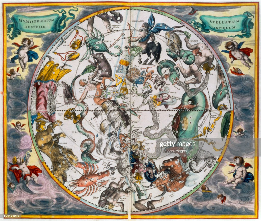 Map Of The Celestial Southern Hemisphere 1660-1661 : News Photo