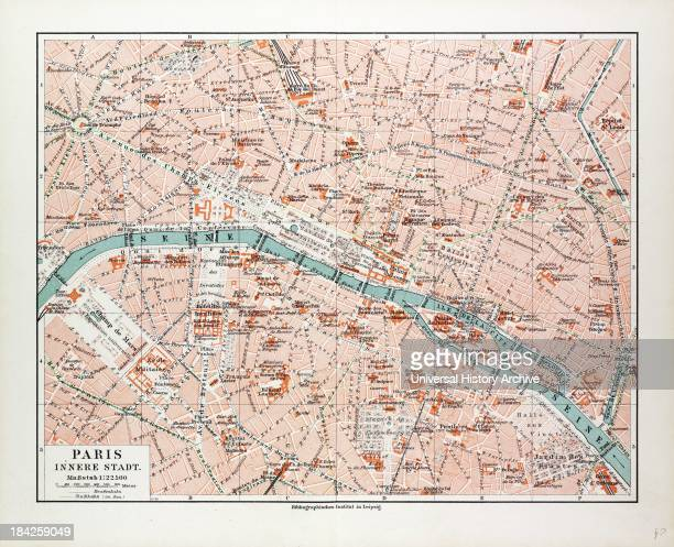 Map Of The Centre Of Paris France 1899