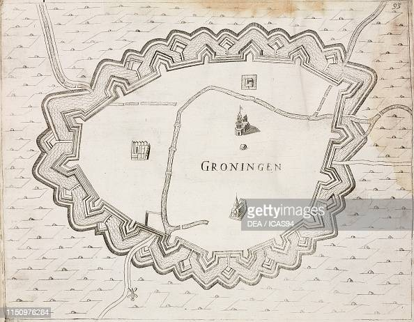 Map of the city of Groningen, Netherlands, engraving from Il ...