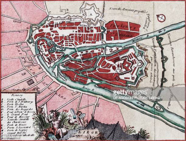 Map of the city of Liege on the Meuse River and its surroundings Belgium copper engraving with watercolour ca 19x14 cm mid18th century
