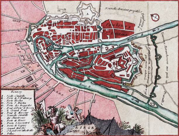 map of the city of liege on the meuse river and its surroundings belgium