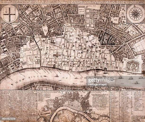 Map of the City of London and surrounding area showing the extent of damage caused by the Great Fire of London in 1666.