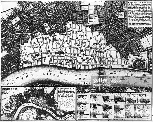 A map of the City of London by Wenceslas Hollar with the light area north of the Thames showing the extent of the area destroyed in the Great Fire of...