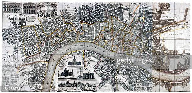 Map of the City of London City of Westminster River Thames Lambeth and Southwark 1736 Top left shows two elevations of Banqueting House and Treasury...