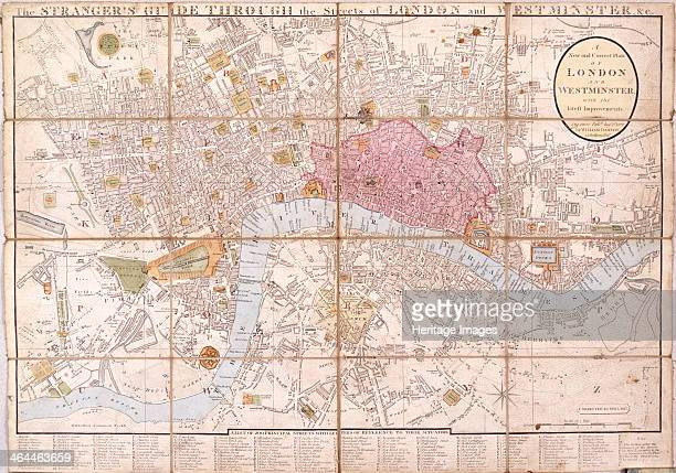 Map of the City of London City of Westminster River Thames Lambeth Southwark and surrounding areas 1823