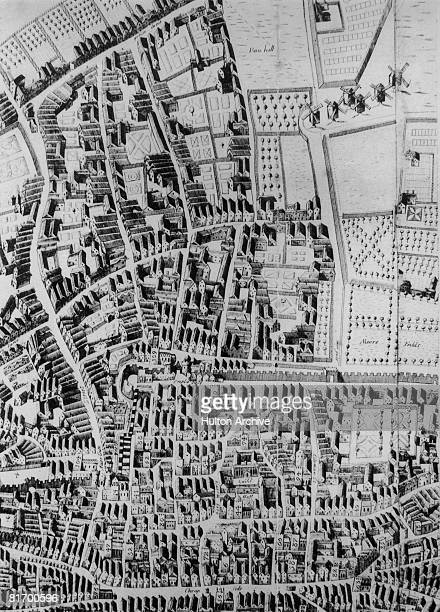 A map of the City of London showing Bunhill Fields Moorfields and the Old Artillery Yard 1658 From Richard Newcourt's Plan of London
