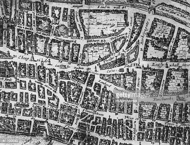 A map of the City of London showing Cheapside Threadneedle Street and Fenchurch Street among others circa 1600