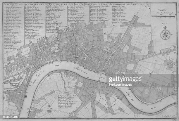 Map of the City of London the River Thames the City of Westminster and surrounding areas 1700