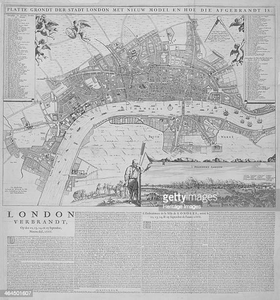 Map of the City of London with a numbered key in the upper corners supported by putti and a view of the Great Fire of London in the lower right...