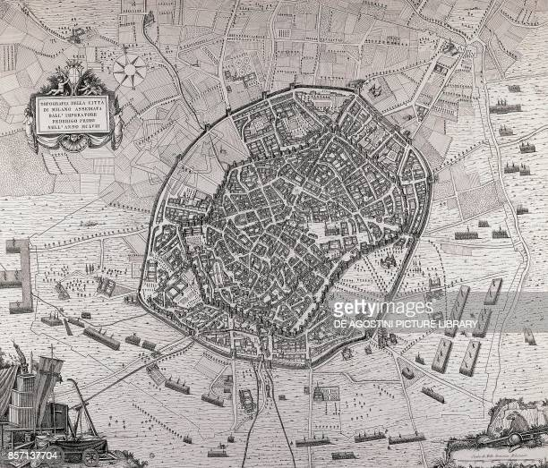 Map of the city of Milan under sieged by Emperor Frederick Barbarossa in 1158 1778 drawing by Domenico Aspari Italy