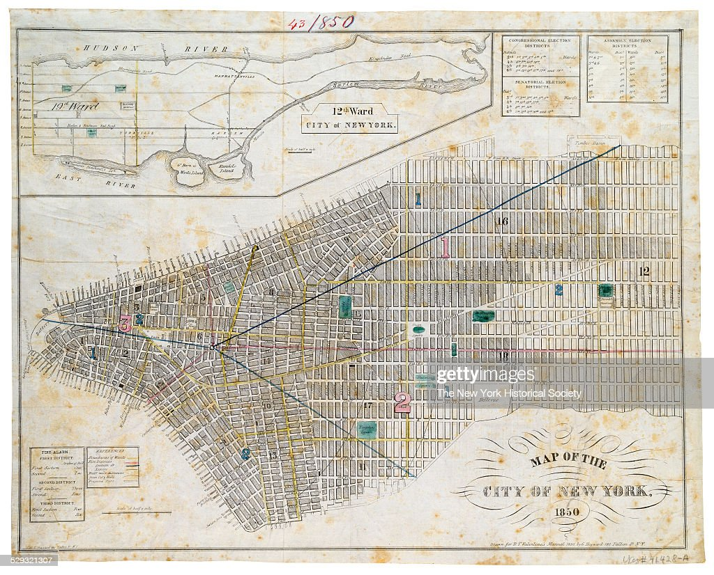 Map Of New York 1850.Map Of The City Of New York 1850 Maps From D T Valentine S Manual