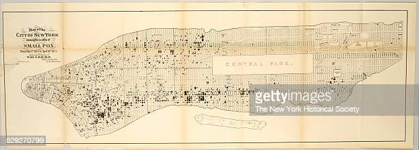 Map of the City of New York showing the Location of Small Pox from May 1st 1874 to April 30th 1875 Made under the direction of W De F Day MD Sanitary...