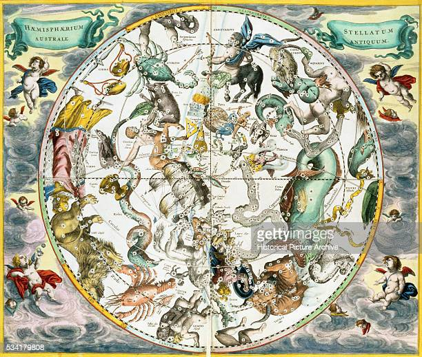 Map of the Constellations of the Southern Hemisphere from The Celestial Atlas by Andreas Cellarius